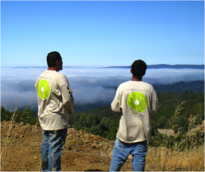 Native Stewards Nathan Vasquez (left) and Gabriel Pineda (right) on the summit of Mt. Humunhum. Photo courtesy Sara French
