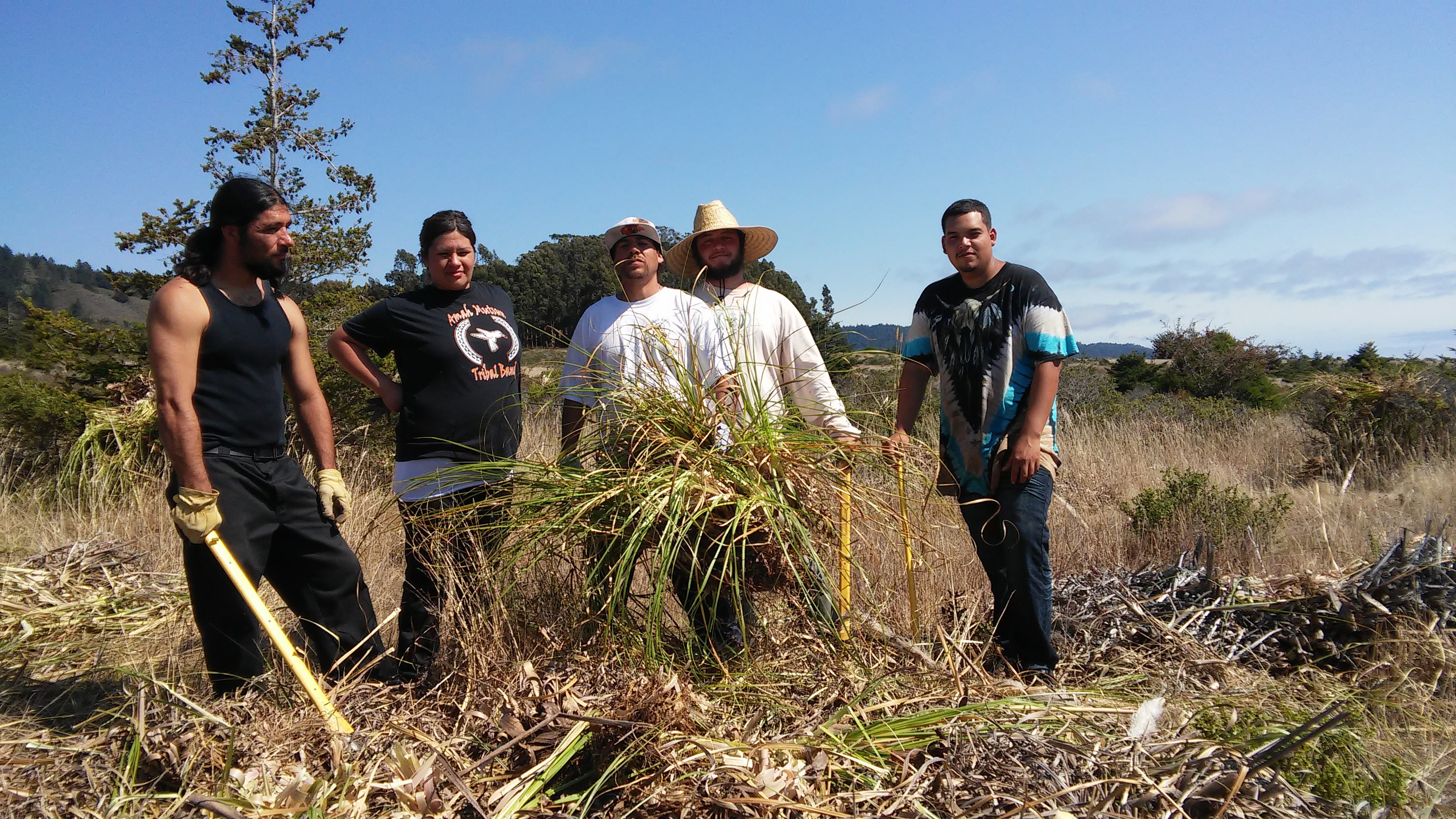 The August 2016 Amah Mutsun Native Stewards. From left to right: Abran Lopez, Natalie Garcia, Gabriel Pineda, Paul Lopez and Nathan Vasquez.