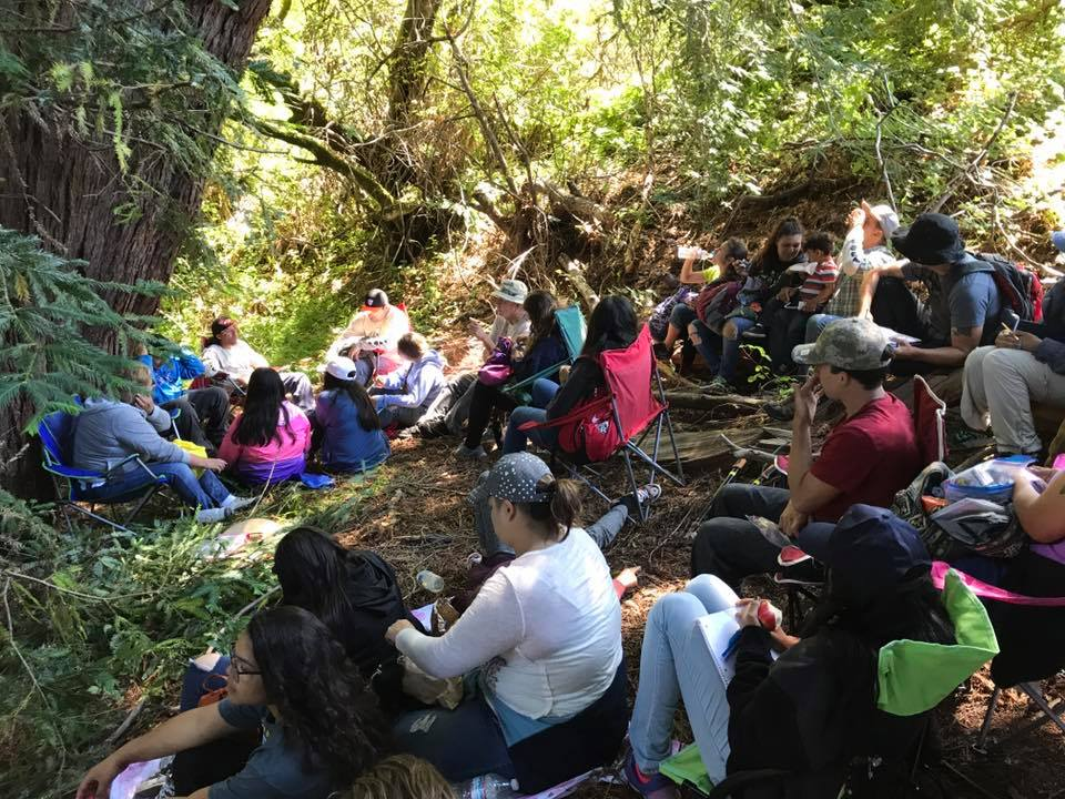 Chairman Valentin Lopez shares Amah Mutsun tribal history at Quiroste Valley Cultural Preserve. Photo courtesy Abran Lopez.