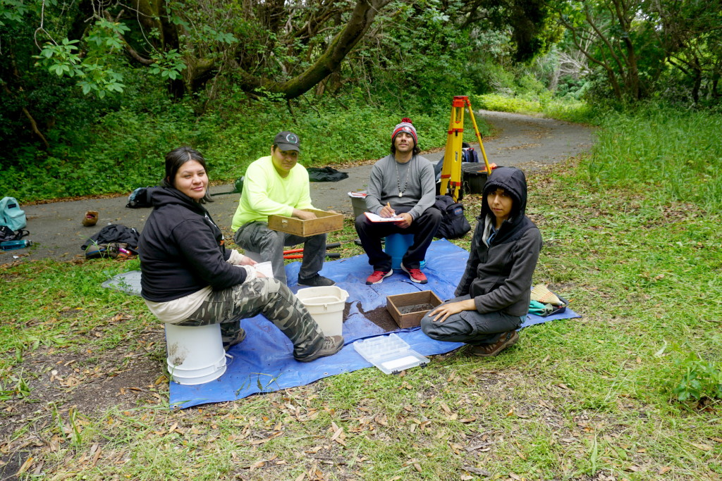 Native Stewards Natalie Garcia, Nathan Verdugo, Gabriel Pineida, and UCB undergraduate Rosario Torres (left to right) screen archaeological materials from surface survey at a site near Laguna Creek.
