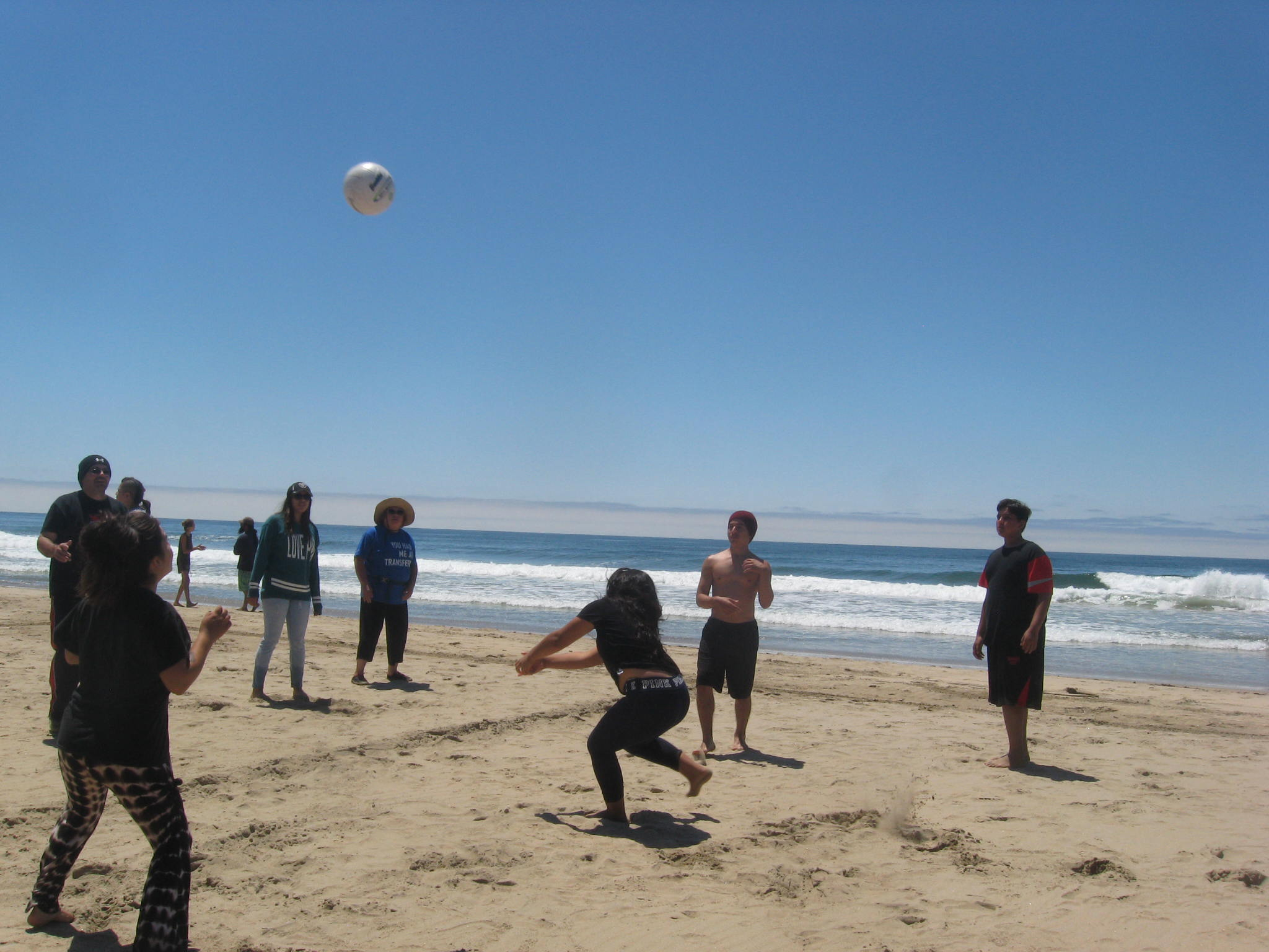 Campers get competitive in improvised beach volleyball. Photo courtesy Jay Scherf.
